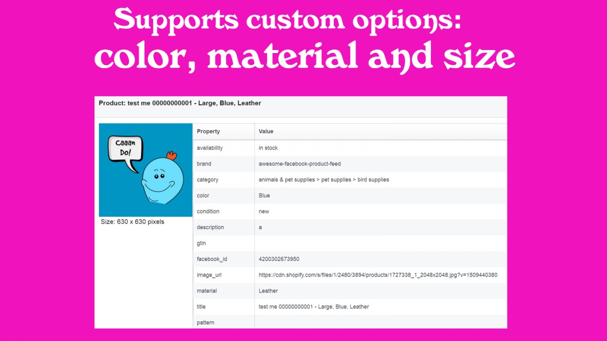 Supports custom options: color, material and size
