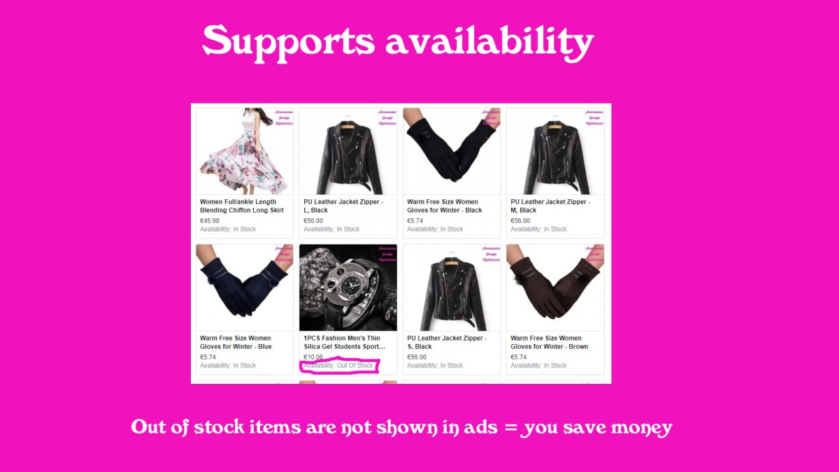 Supports availability - out of stock items are not shown means you save money